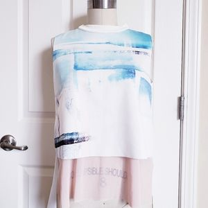 Zara WB Collection Short Sleeve Abstract Print Top
